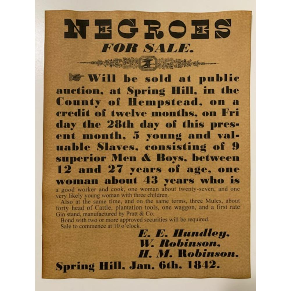 Dated Black Americana Negroes for Sale Notice Poster