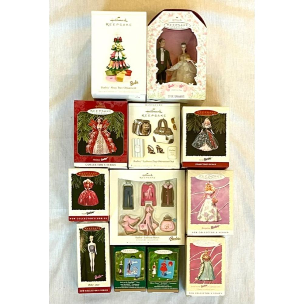12 Vintage BARBIE Christmas Ornaments & Collectibles /C