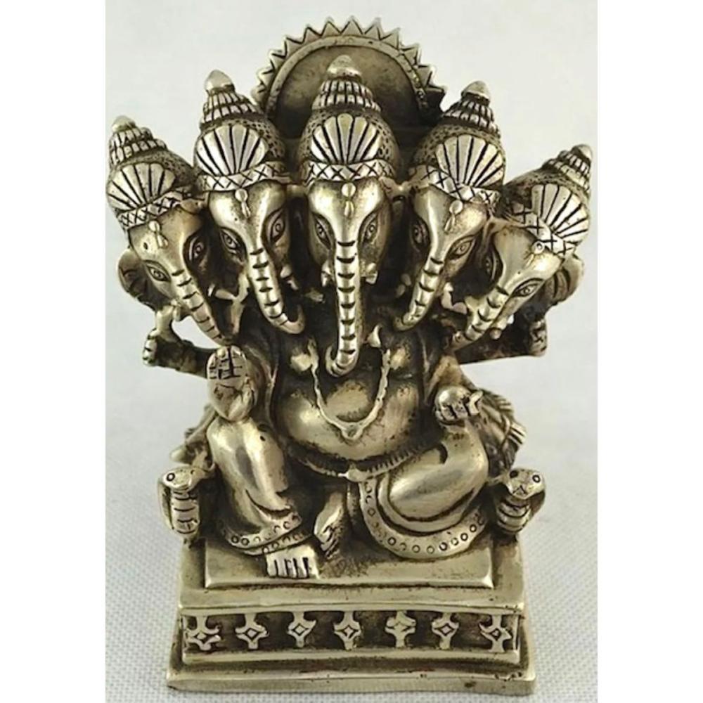 Early Tibet Silver Hindu Buddha Elephant Ganesh Statue