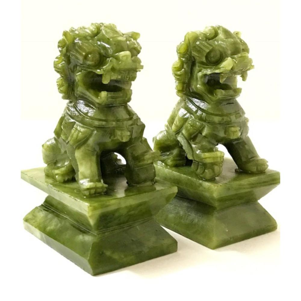 Vintage Hand Carved Natural JADE Chinese Imperial Foo Dogs