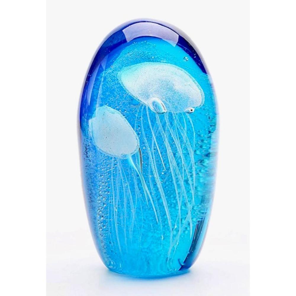 MURANO Art Glass Glow in the Dark Jellyfish Paperweight