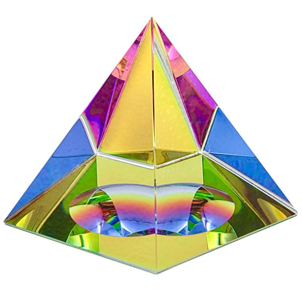 Iridescent Colored Crystal Prism Pyramid Paperweight