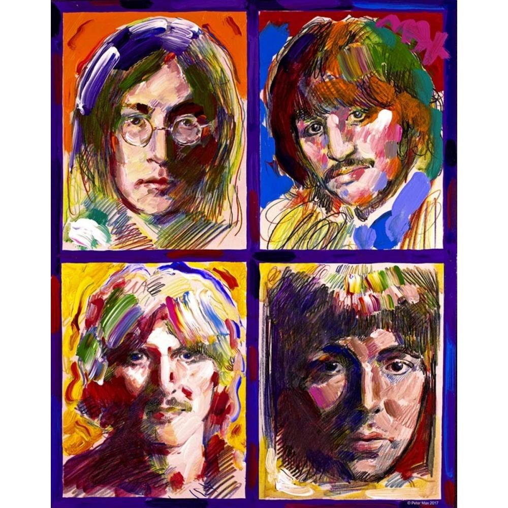 The BEATLES Print Art on Canvas by PETER MAX