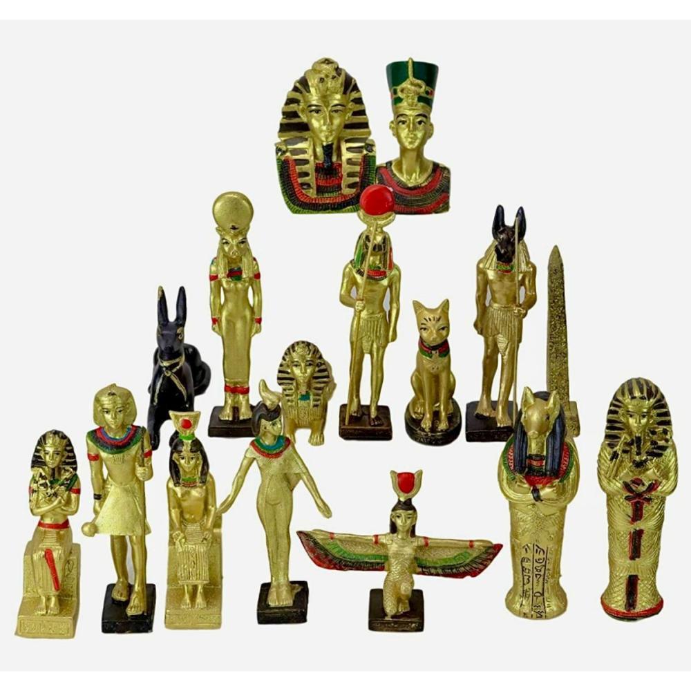 Lot of 16 Ancient Egyptian Gods & Goddesses Figurines