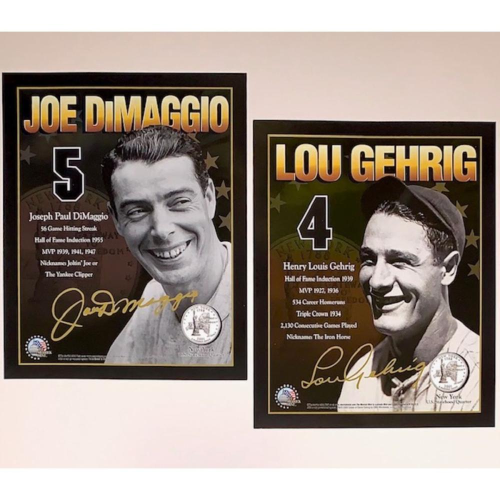 DiMaggio/Gehrig Merrick Mint 8 x 10 Signature Cards