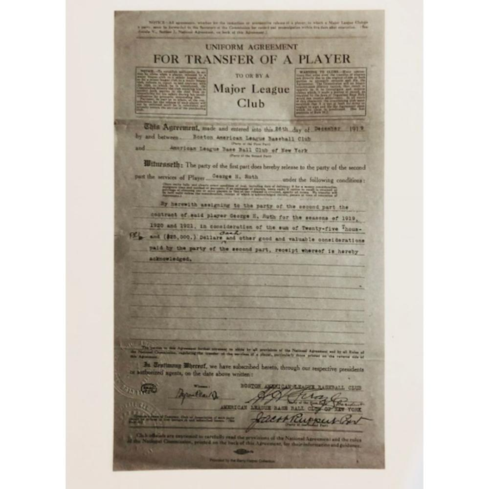 1919 BABE RUTH Player Transfer-Sale Contract