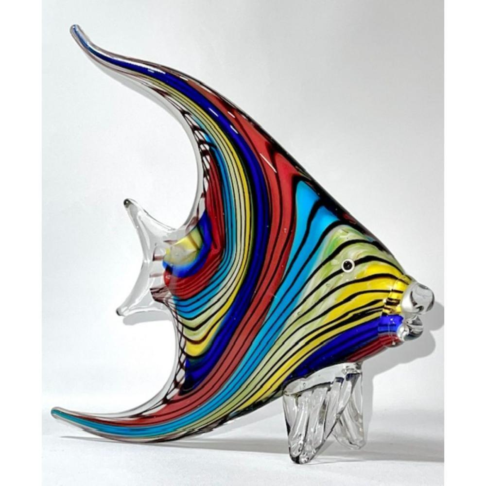 Large MURANO Art Glass Rainbow Angel Fish Sculpture