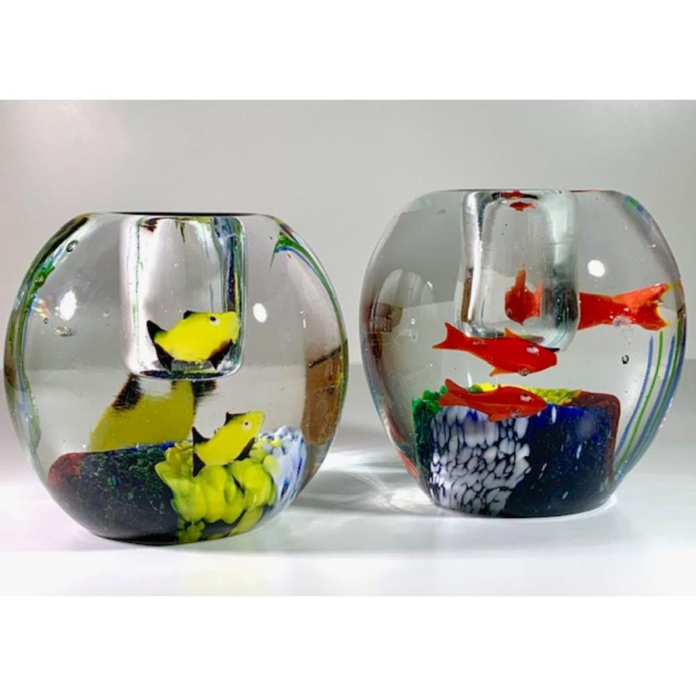 MURANO Art Glass Fish Tank Paperweight Candleholders