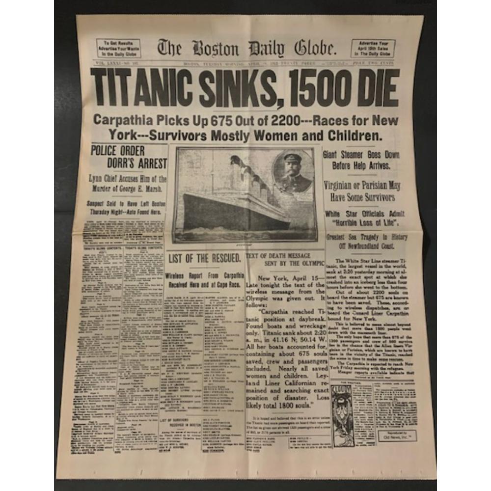 TITANIC Sinks Boston Globe Newspaper AM/PM Edition