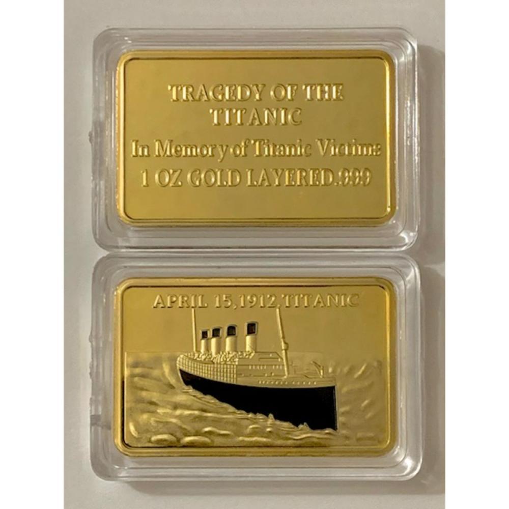 1oz Gold Layered Tragedy of the TITANIC Ingot Bar