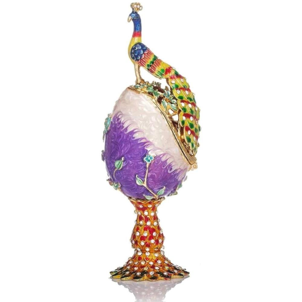 FABERGE Enameled & Jeweled Peacock Egg Trinket Box