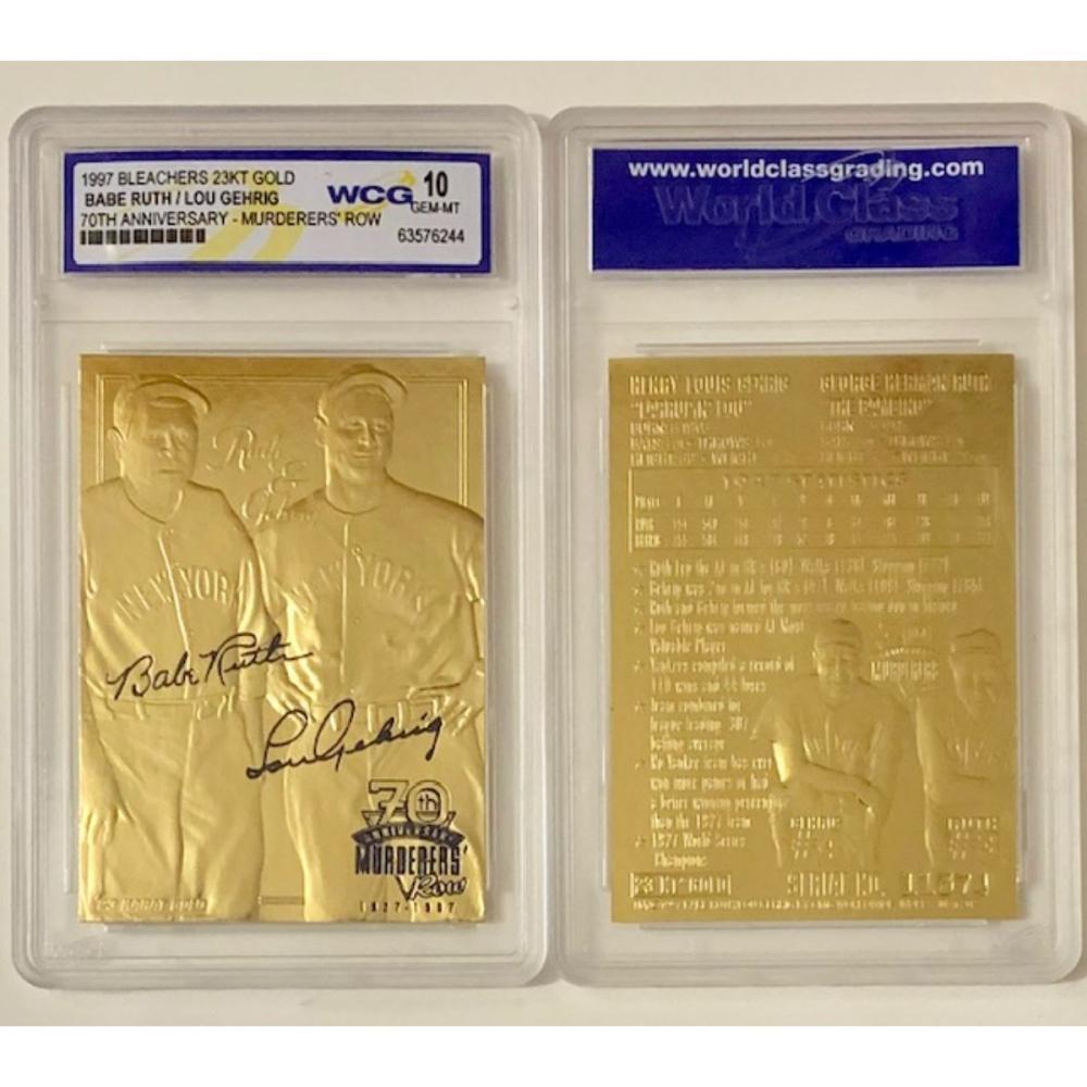 23k Gold BABE RUTH and LOU GEHRIG Baseball Card
