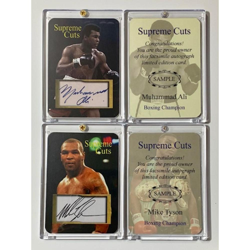 Muhammad Ali and Mike Tyson Autograph Sample Cards