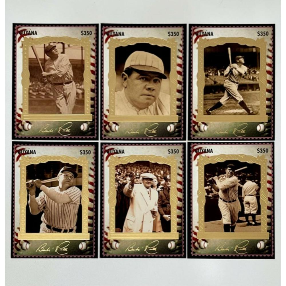6 Rare BABE RUTH Gold Stamp Autographed Baseball Cards