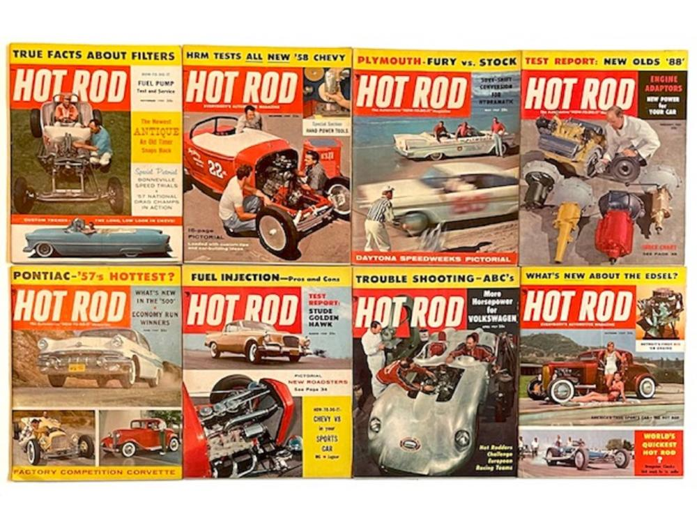 Lot of 8 Rare Original 1950's HOT ROD Magazines