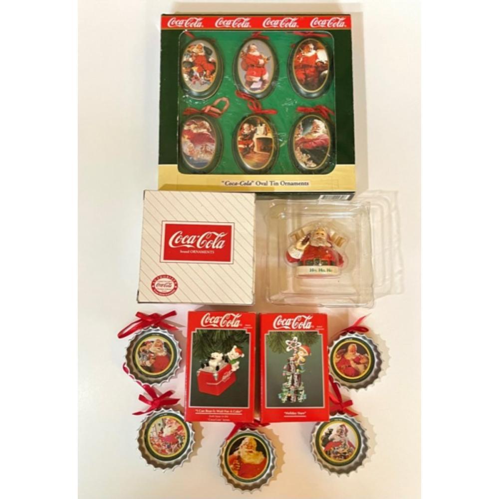 Lot of 13 Vintage COCA-COLA Christmas Ornaments