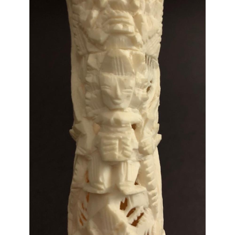 Old Intricately Hand Carved Bone Tribal Totem Pole