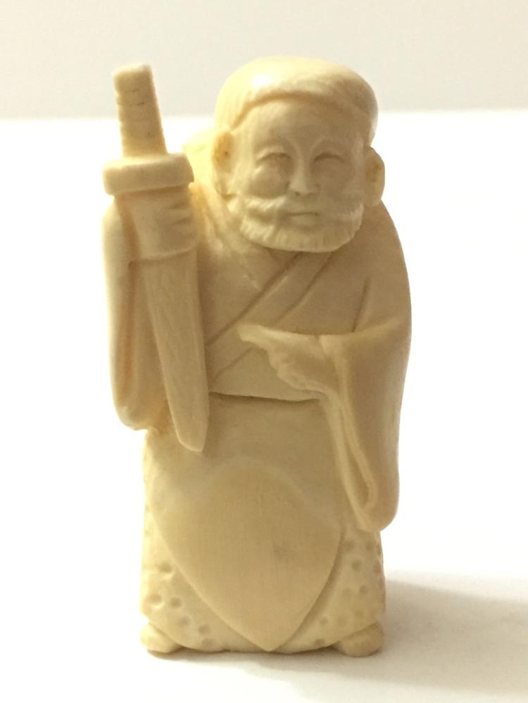 Artist Signed Hand Carved Chinese Immortal IVORY Netsuke