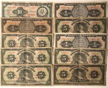Lot of 10 Old Mexican Banknote/Currency Bills