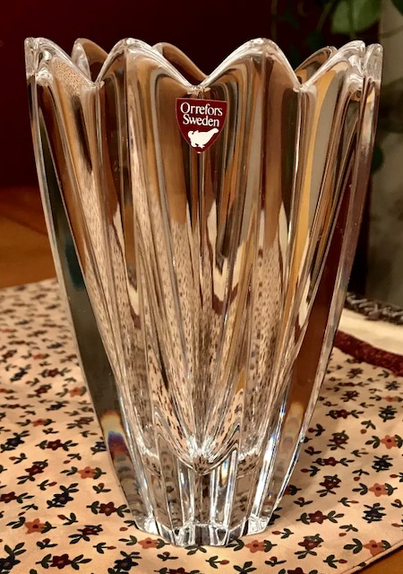 Etch Signed Orrefors Swedish Crystal Vase By Jan Johansson