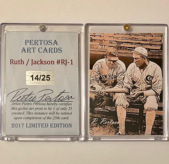 Artist Signed Babe Ruth Shoeless Joe Jackson Baseball Ca