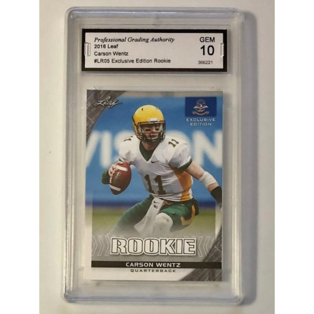 Gem Mint 10 Carson Wentz Rookie Football Card