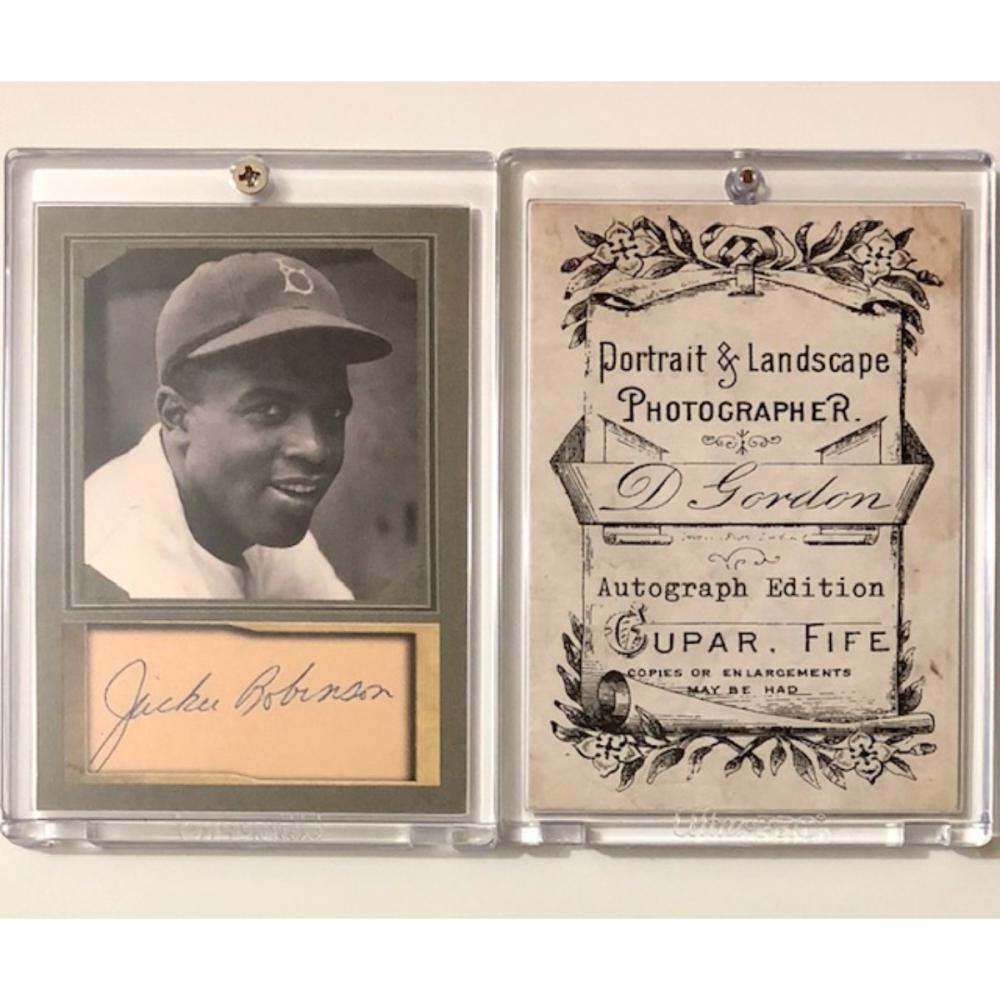 Jackie Robinson Cut Facsimile Autographed Custom Portrait Ba