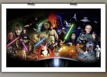 Very Cool STAR WARS Complete Saga 3-D Art Giclée on Canvas