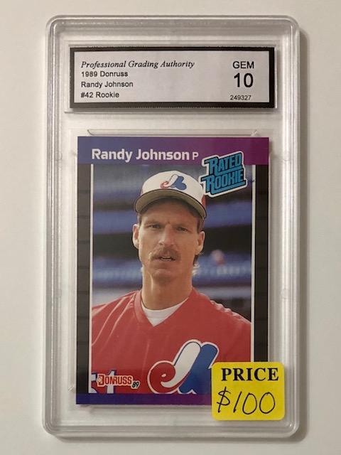 Gem 10 Rated Rookie Randy Johnson Rookie Baseball Card