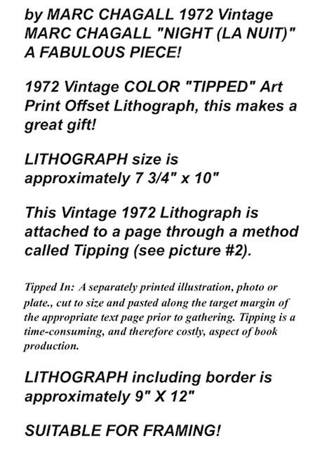 La Nuit Fabulous Color Offset Lithograph 1972 Vintage Marc Chagall Night Art Prints Art
