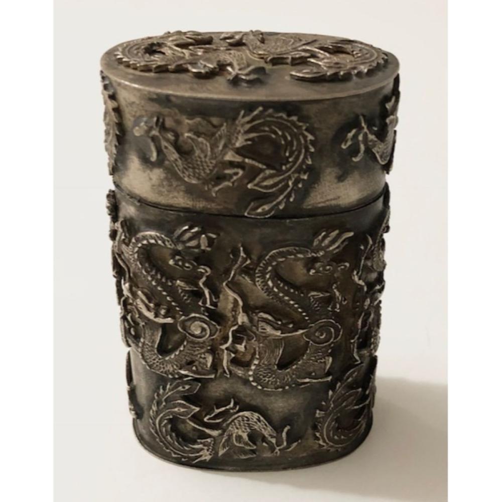 Collection Tibet Silver dragon PHOENIX TOBACCO SNUFF BOX