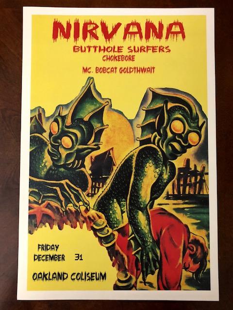 NIRVANA Butthole Surfers Oakland Coliseum Concert Poster