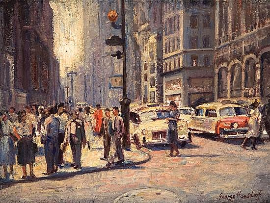 GEORGE HAUSDORF American (1888-1959) (A Pair) Sidewalks of New YorkNew York Street Scene oil on masonite, both signed.