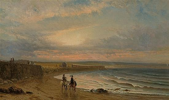 FREDERICK RONDEL American (1826-1892) Horseback Riders on the Beach oil on canvas, signed lower left.