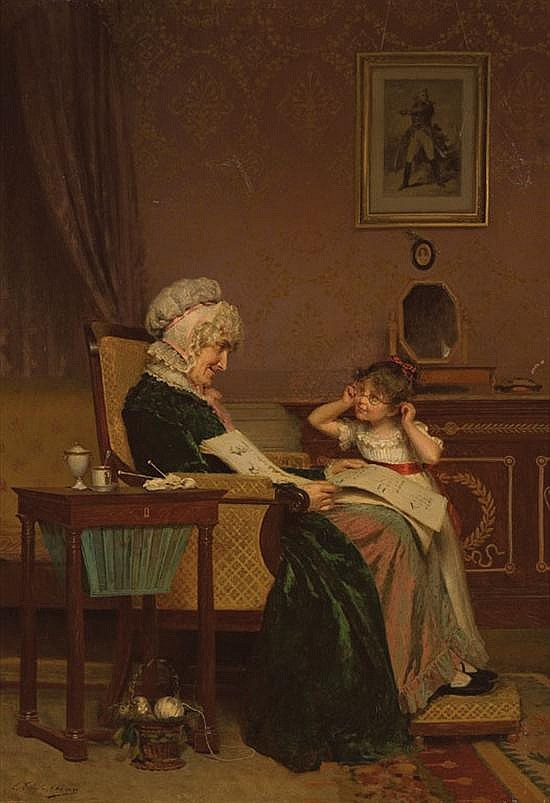"""LOUIS EMILE ADAN French (1839-1937) """"The First Lesson"""" oil on canvas, signed lower left"""