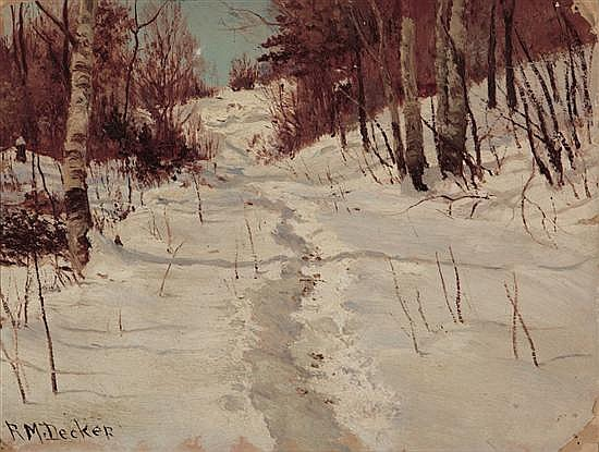 ROBERT MELVIN DECKER American (1847-1921) Winter Path oil on board, signed lower left.