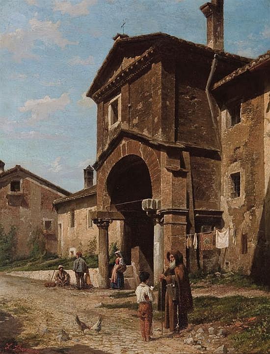 LUIGI BAZZANI Italian (1836-1927) Figures in an Italian Village oil on canvas, signed lower left.