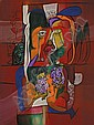 """PABLO PALASSO Dominican Republic (b. 1954) """"El Beso"""" oil on canvas, signed lower right. Signed, titled and dated 2002 on the reverse..."""