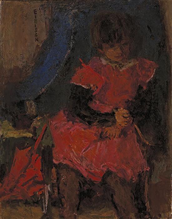 EUGENIUSZ EIBISCH Polish (1896-1987) Girl with Parasol oil on canvas, signed upper left.