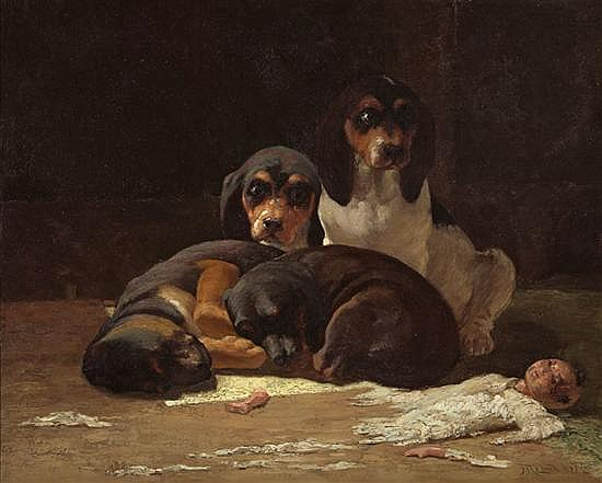 FREDERICK MORTIMER LAMB American (1861-1936) After Playtime oil on canvas, signed lower right and dated '92.