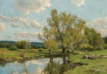 """HUGH BOLTON JONES, American (1848-1927), Landscape with Stream, oil on canvas, signed """"H. Bolton Jones"""" lower right, 14 x 20 inches"""