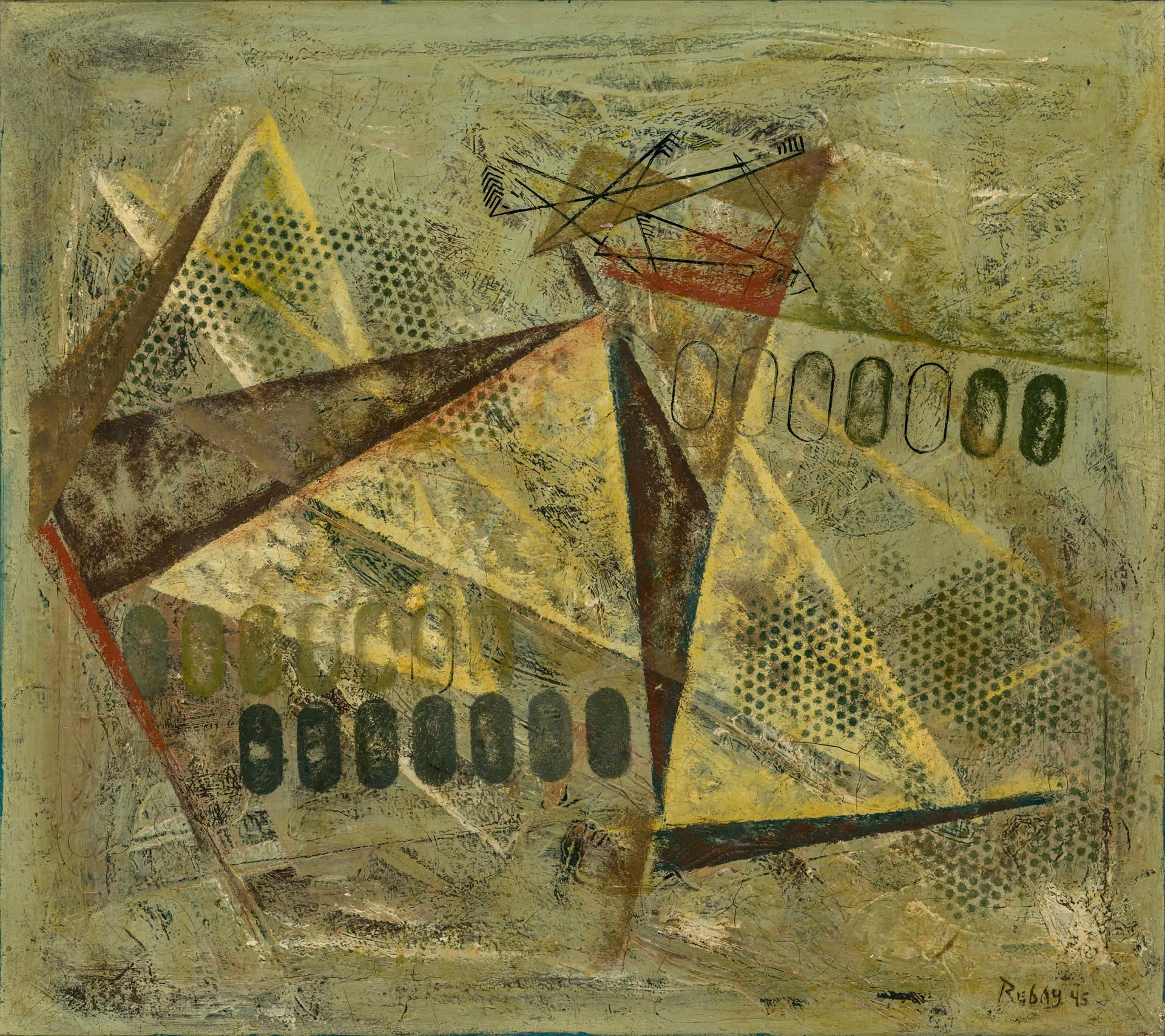 """HILLA REBAY, American (1890 - 1967), Untitled, oil on canvas, signed and dated lower right """"Rebay 45"""", 24 x 27 inches"""