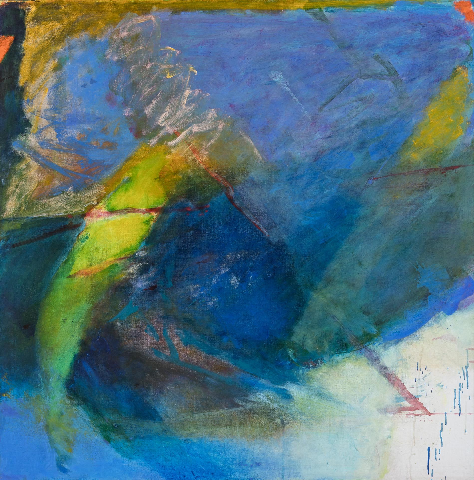 """EMILY MASON, American (1932-2019), Gentian Waves, oil on canvas, signed and dated lower left """"Emily Mason 1986-87"""", 44 x 43 3/4 inch..."""