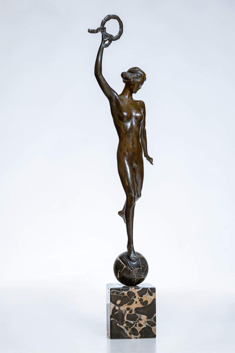 """JANET SCUDDER, American (1873-1940), Victory, bronze, inscribed """"J.S."""", height: 31 1/2 inches"""