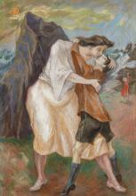 """PEPPINO MANGRAVITE, American (1896-1978), A Mother's Farewell, oil on canvas, signed lower left """"Mangravite"""", 34 x 24 inches"""