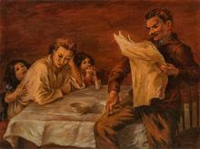 """PEPPINO MANGRAVITE, American (1896-1978), Looking for Work, oil on canvas, signed lower right """"Mangravite"""", 30 x 40 inches"""