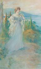 """WILLIAM ST. JOHN HARPER, American (1851-1910), Lady in White, pastel on paper, signed and dated lower left """"W. St. John Harper 1906""""..."""