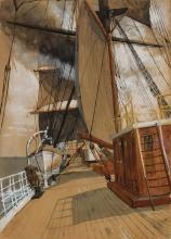 WILLIAM ST. JOHN HARPER, American (1851-1910), Ship Interior, watercolor and gouache on paper, unsigned, 14 3/4 x 10 1/2 inches