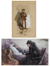 WILLIAM ST. JOHN HARPER, American (1851-1910), Family Mourning Young Man (A Pair), watercolor and gouache on paper, unsigned, (a) 3...