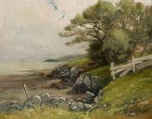 """EDWARD A. PAGE, American (1850-1928), Lynn Beach at Red Rock, oil on canvas, signed lower right """"E.A. Page"""", 16 x 20 inches"""